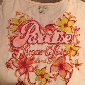 Lucky brand paradise tropical T-shirt small S